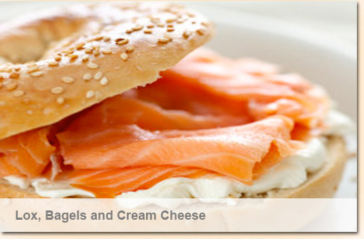 lox, bagels, cream cheese